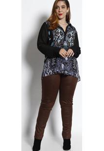 Blusa Alongada De Penas - Preta & Lilã¡S- Cotton Colocotton Colors Extra