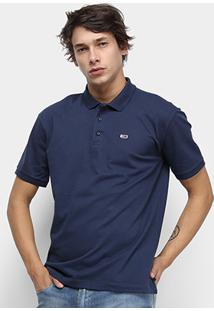 Camisa Polo Tommy Jeans Classic Solid Masculino - Masculino-Azul Escuro