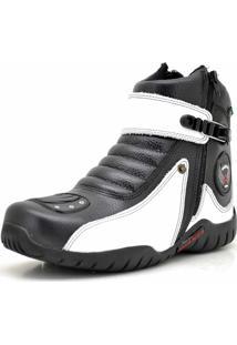 Bota Motoqueiro Cano Curto Em Couro Atron Shoes Preta/Branco
