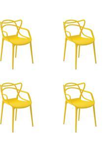 Kit 04 Cadeiras Allegra Amarela Rivatti