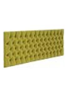 Cabeceira Cama Box Painel Casal Capitonê Amy L02 Suede Amarelo 140 Cm - Lyam Decor
