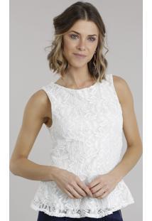 Regata Feminina Peplum Em Renda Com Decote Redondo Off White