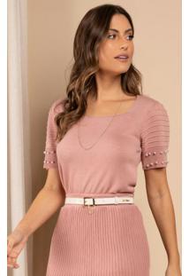 Blusa De Tricô Rosa Com Perólas Nos Punhos