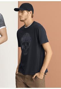 Camiseta Masculina Slim Em Malha De Algodão Super Touch Estampada