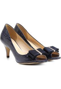 bb6040b9f8 ... Peep Toe Couro Shoestock Laço - Feminino-Marinho