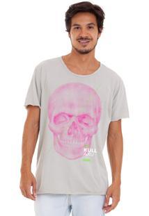 Camiseta Estonada Corte À Fio Estampada Joss Kull Axu Cinza