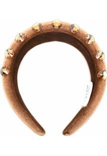 Atu Body Couture Headband Matelassê Com Aplicações - Marrom