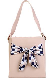 Bolsa Petite Jolie Shopper Fosca Detalhe Lenço Feminina - Feminino-Bege Claro