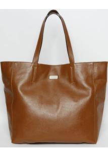 Bolsa Shopper Em Couro- Marrom Claro- 35X48X15Cmgriffazzi