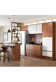Cozinha Compacta 13 Portas C/ Bancada E Rodapé 5464R Noguei/Branco - Multimóveis