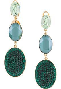 Melissa Kandiyoti Triple Medallion Drop Earrings - Dourado