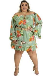 Vestido Brio Plus Size Curto Glamour Feminino - Feminino-Verde