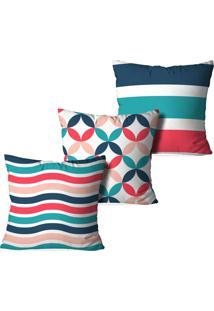 Kit 3 Capas Love Decor Para Almofadas Decorativas Premium Pattner Multicolorido Branco - Kanui
