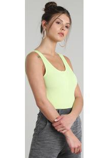 Body Feminino Canelado Com Botões Alça Larga Decote Redondo Verde Neon