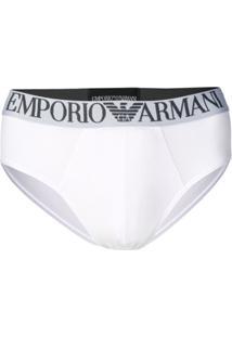 Emporio Armani Calcinha Com Logo - Branco