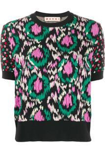 Marni Blusa De Tricô Floral Texturizado - Preto
