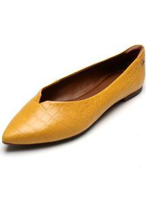 Sapatilha Couro Capodarte Textura Amarelo
