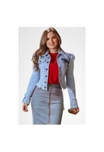 Jaqueta Feminina Jeans Curta Com Bolsos Joyaly