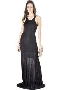 Vestido Longo Calvin Klein - Feminino-Preto