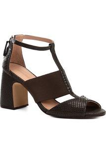 Sandália Couro Shoestock Salto Bloco Snake Feminina - Feminino-Musgo
