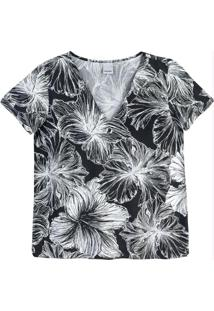 Blusa Preto Decote V Floral Malwee