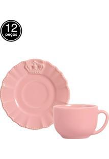 Jogo De Xícaras De Chá 12 Pçs Windsor Rosa Porto Brasil