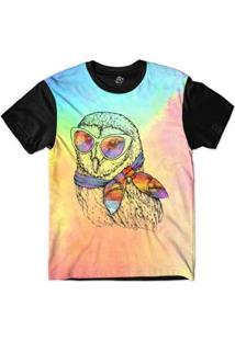 Camiseta Bsc Animais Hipster Coruja Sublimada - Masculino-Rosa