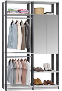 Closet Modulado 1 Armário C/ Espelho E 2 Cabideiros Clothes 9015 – Be Mobiliário - Branco / Espresso