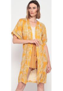 "Kimono ""Folhagens"" Com Entremeios - Amarelo & Off White"