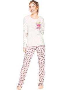 Pijama Cor Com Amor Popcorn Off-White/Rosa