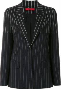 Hugo Blazer Listrado Regular Fit - Preto