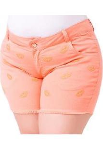 Shorts Jeans Steve Color Plus Size Feminino - Feminino-Laranja