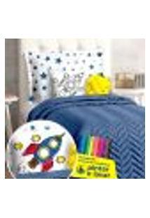 Cobre Leito Infantil Menino 7 Peças Com Almofada Para Coloris + Canetinhas Para Colorir