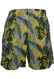 Shorts Alma De Praia Com Cordao Sleeves Masculino - Masculino-Amarelo