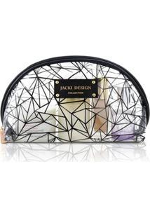 Necessaire Meia Lua Transparente Jacki Design Crystal - Feminino-Preto