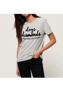 Camiseta Diamonds Buddies Feminina - Feminino-Mescla