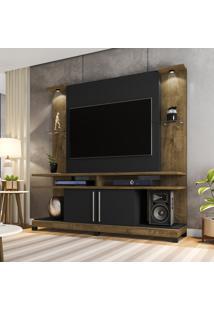 Home P/ Tv Até 60 Pol Móveis Bechara York Led Madeira Rústica/Preta