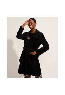 Roupão De Fleece Texturizado Com Faixa Para Amarrar E Bolsos Preto