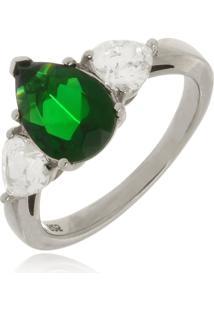 Anel Le Diamond Em Prata 925 Com Esmeralda - Kanui