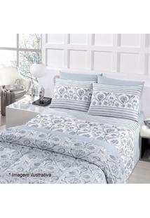 Jogo De Cama Royal Plus Queen Size- Azul & Branco- 4Santista