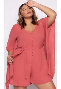 Macaquinho Almaria Plus Size Kayla Peniche Liso Rose Rosa