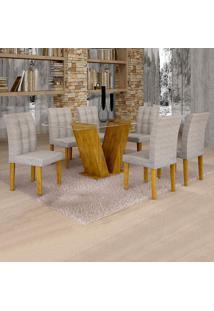 Conjunto De Mesa De Jantar Classic Com 6 Cadeiras Vitória Suede Ypê E Cinza