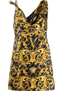 Versace Vestido Assimétrico Com Estampa Barroca - Amarelo