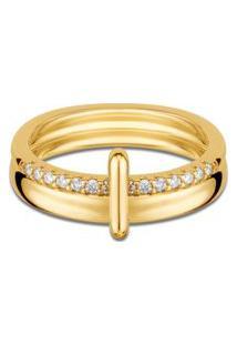 Anel Elos Ouro Amarelo E Diamantes