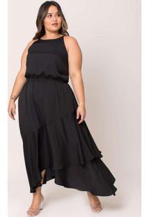 Vestido Almaria Plus Size Pianeta Midi Creponado P