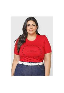 Camiseta Tommy Hilfiger Lettering Vermelha