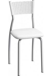 Cadeira De Aço Gênova C122 Compoarte Cromado/Branco