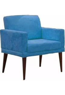 Poltrona Decorativa Emília Pés Palito Suede Azul - Ds Móveis