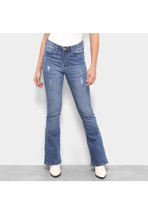 Calça Jeans Carmim Shibuya Flare Feminina - Feminino-Azul