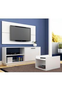 Conjunto De Rack Com Painel Para Tv Até 48 Polegadas E Mesa De Centro Trama Branco